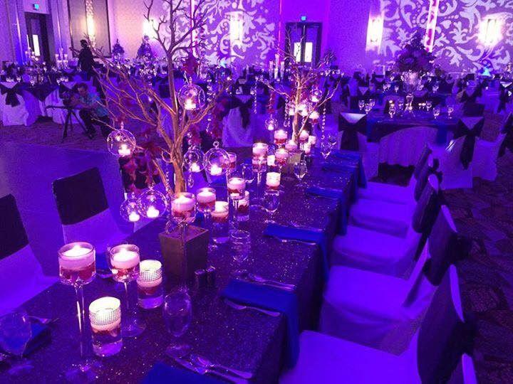 Long table setup with candle setup