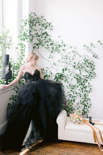 Photo shoot black bridal dress