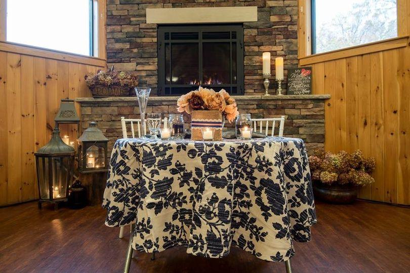 Navy blue, cream and peach - rustic lodge reception - christoff wedding