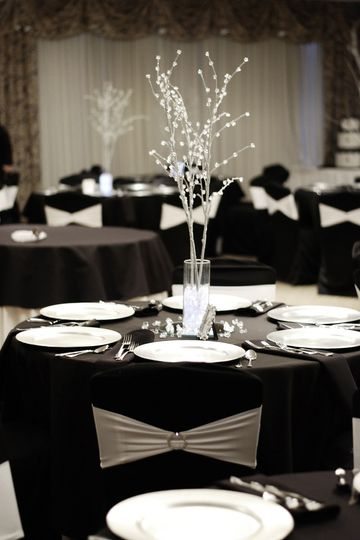 Black tables and white decor