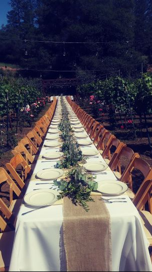 Long rustic tables
