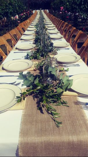 Close up of long table