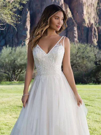 Simple laced wedding gown