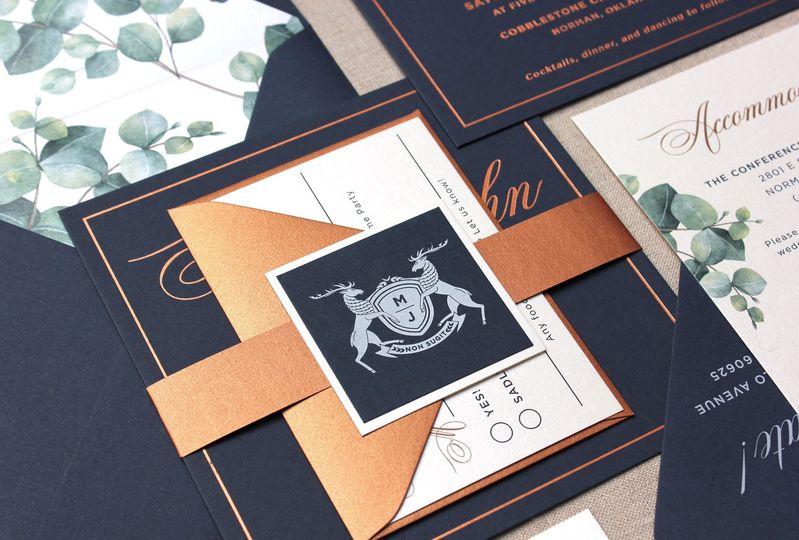 Copper foil invitation suite