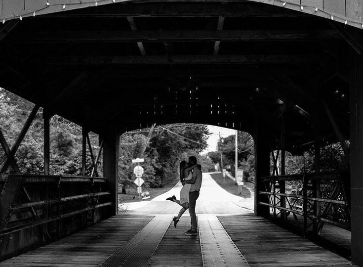 Couple embracing in a tunnel
