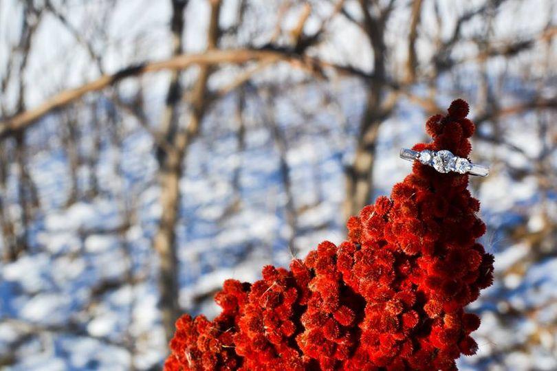 Wedding ring on a flower