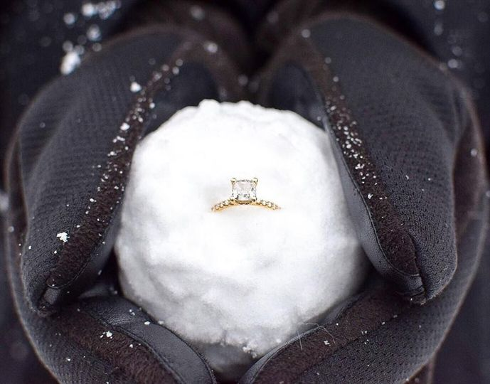 Wedding ring in a snowball