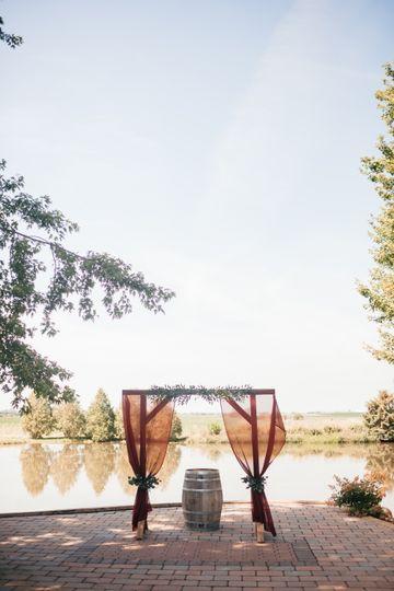 A rustic outdoor ceremony setup
