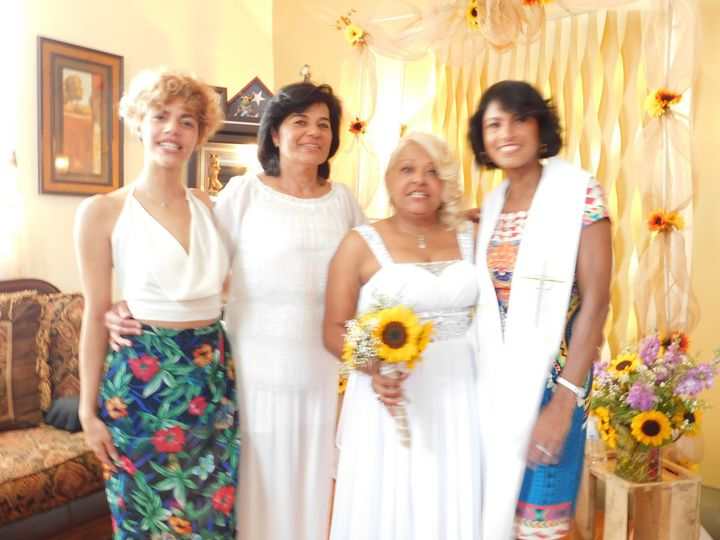 Gloria and Maribel with their niece and AnaMarie (officiant).