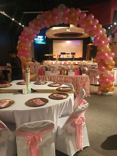 Reception hall and balloon arch