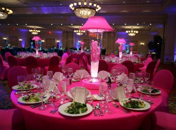 Hot Pink Lighted Lamp Shade Centerpiece