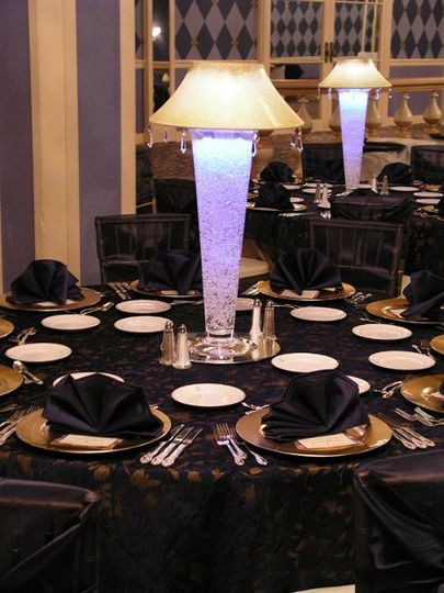 White Lighted Lamp Shade Centerpiece