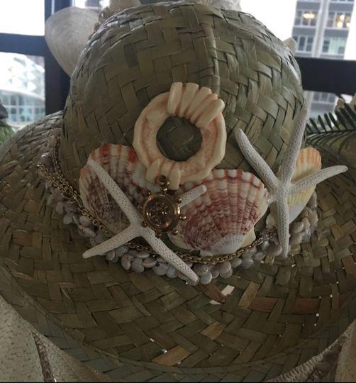 Seashells embellished on hat