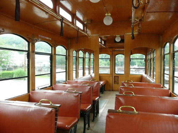 This is the spacious interior of our Boyertwon Spartan Trolley!   It also features a politicians...