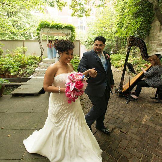 Outdoor elopement wedding ceremony in the ceremony garden