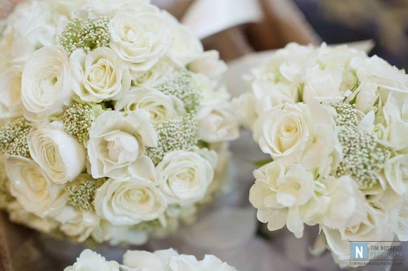 White roses and riceflower