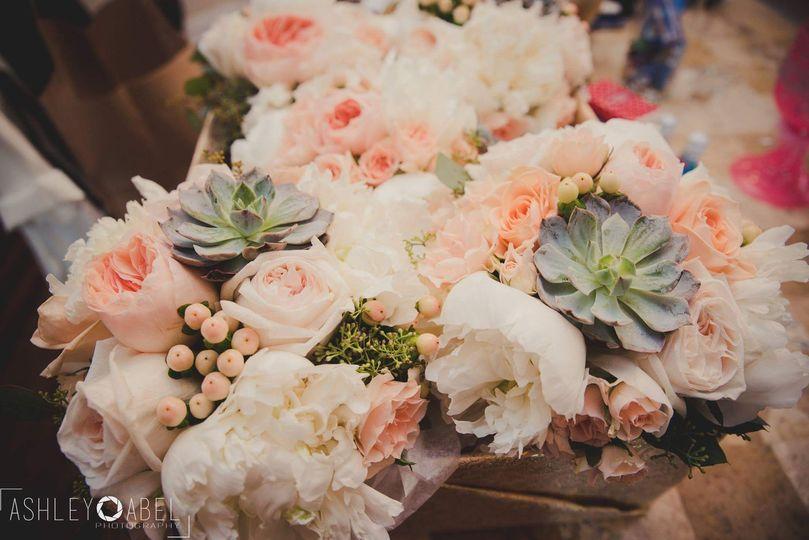 Peonies roses succulents