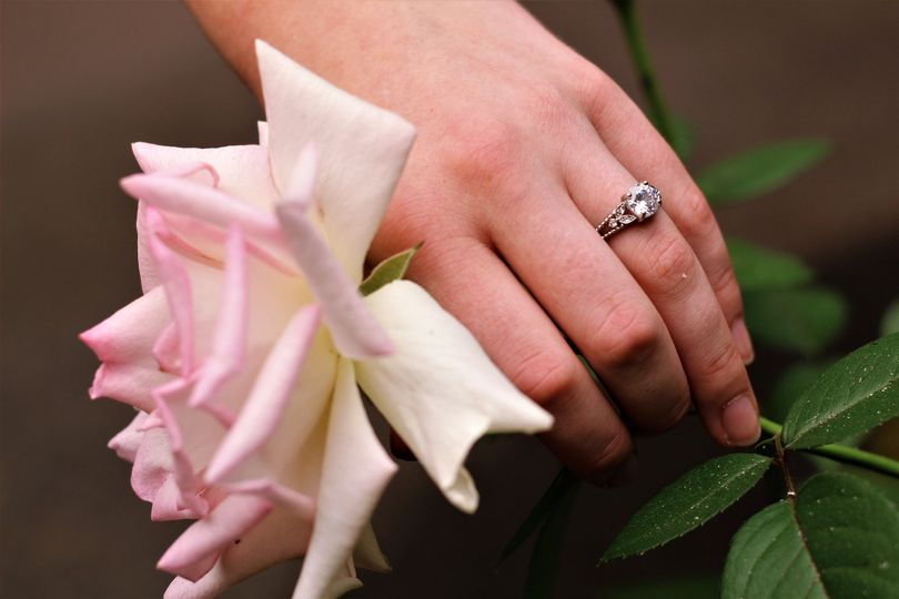 Her wedding ring at The Grotto gardens.