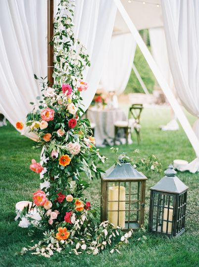 Floral decor and lanterns