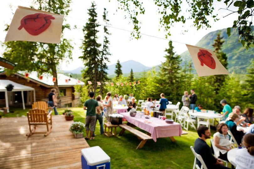 Alaska Heavenly Lodge front lawn reception site.