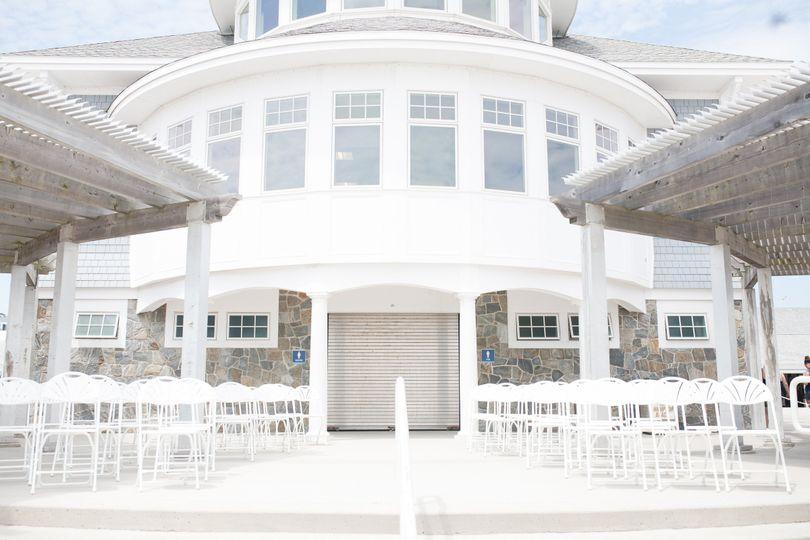 oceanfront terrace ceremony setup