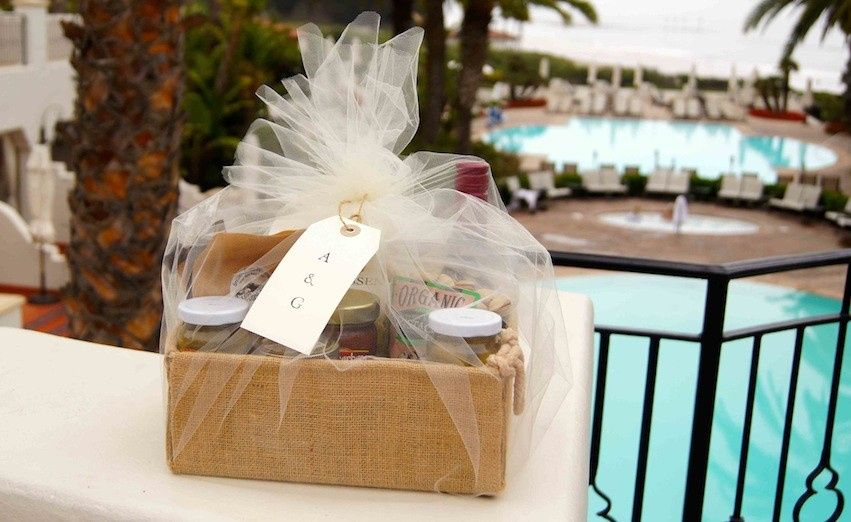 Wedding Welcome Gift wrapped in Ivory Tulle with Gourmet Goodies inside of an eco-friendly jute...