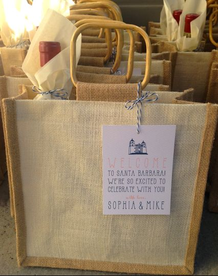 Custom Wedding Welcome Gifts for guests at a Santa Barbara Weddings