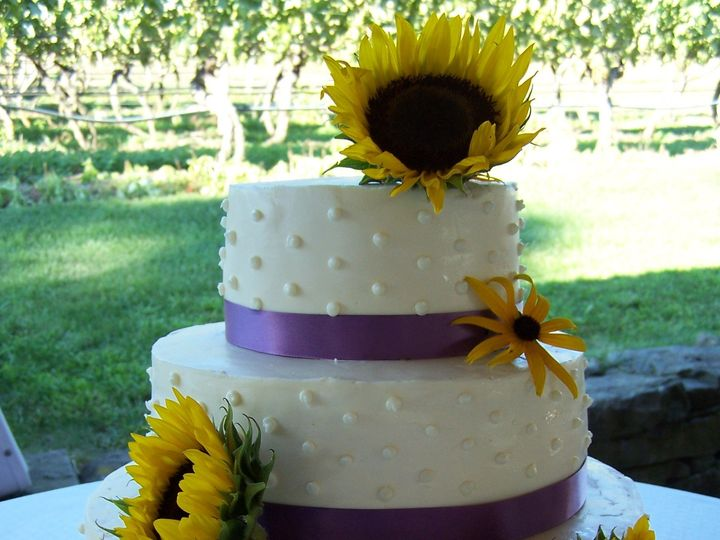 Tmx 1468168998265 Sunflower W Purple Ribbon Dotted Swiss Wellfleet wedding cake