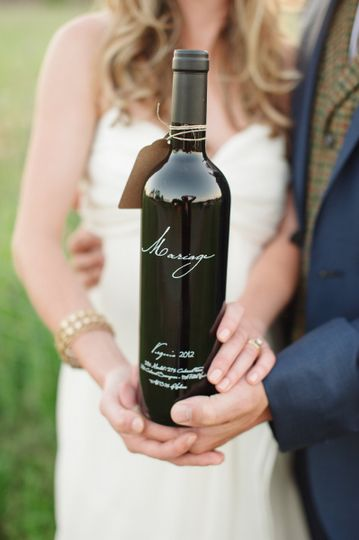 Wine bottle made by the bride and groom for their guests