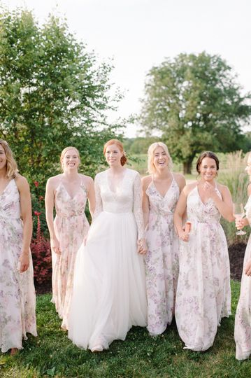 Bride and her happy maids