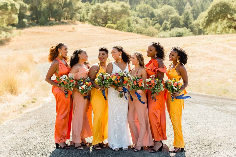 Happy bridesmaids posing