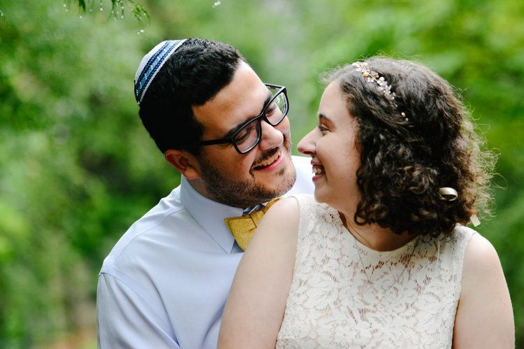 Newlyweds sharing a laugh