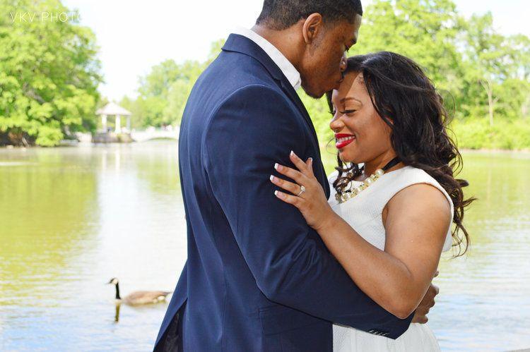 Kissing by a lake