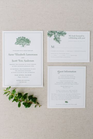 Oak tree invitation suite