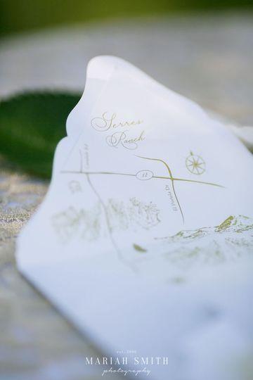 Custom hand drawn map envelope