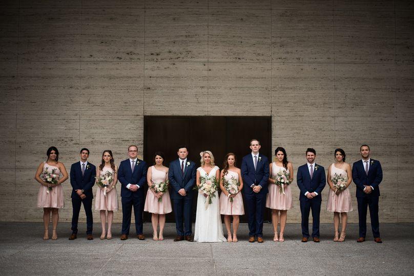 Wedding attendants and the newlyweds