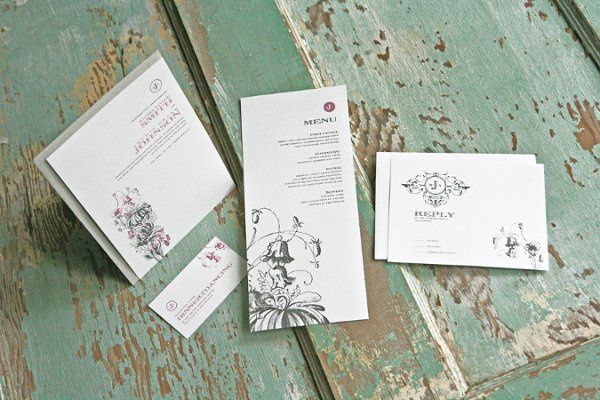 The Adonis Wedding Invitation Suite  With a botanical inspired motif, this invitation set is...