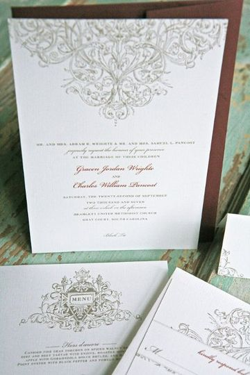 The Aristocrat Wedding Invitation Suite  This suite sets the tone for any elegant and...