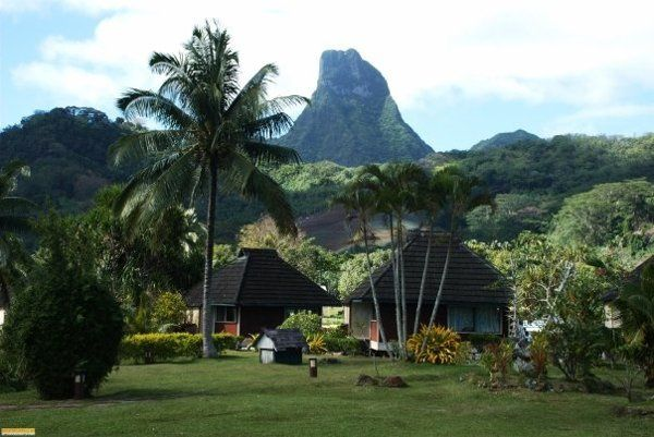 view to one of the mountains in Moorea