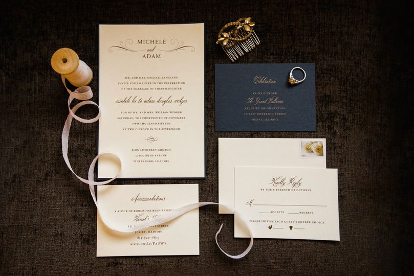 Classic Navy and Gold invitation. Modern yet traditional.