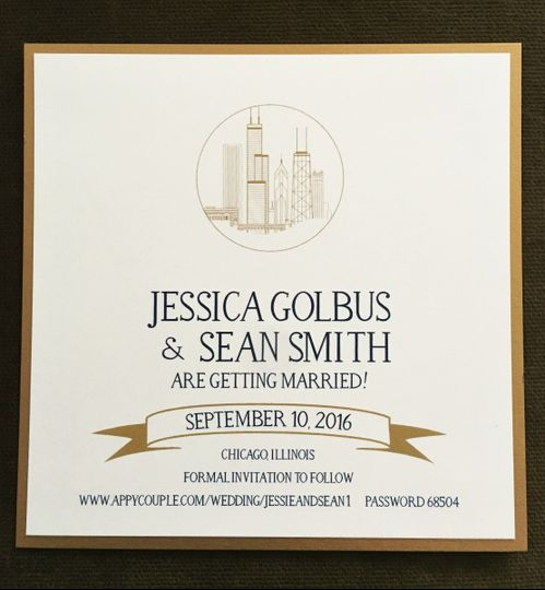 Chicago Skyline save the date. Can be in virtually any color combo.