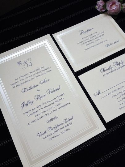 Classic Navy and Ecru with pearl border. Ink color and font styles can be changed to accommodate...