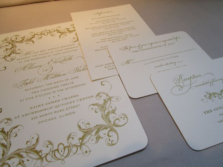 Ornate gold invitation. Classic, formal and elegant.