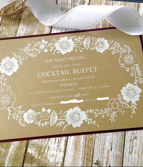 Rustic kraft invitation with white ink was perfect for the night before Cocktail Buffet.