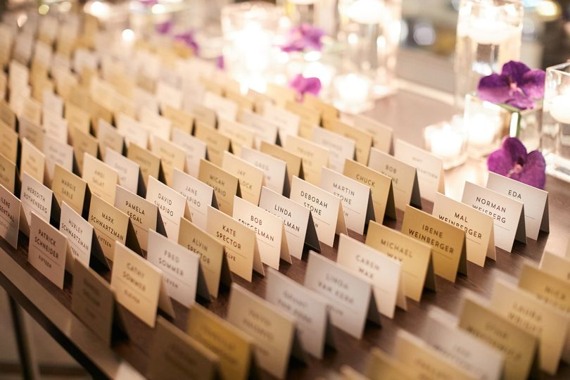 Multi colored escort cards