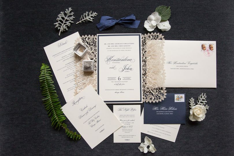 Lasercut navy and ivory