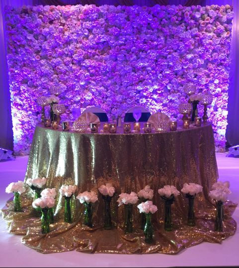Golden table cloth