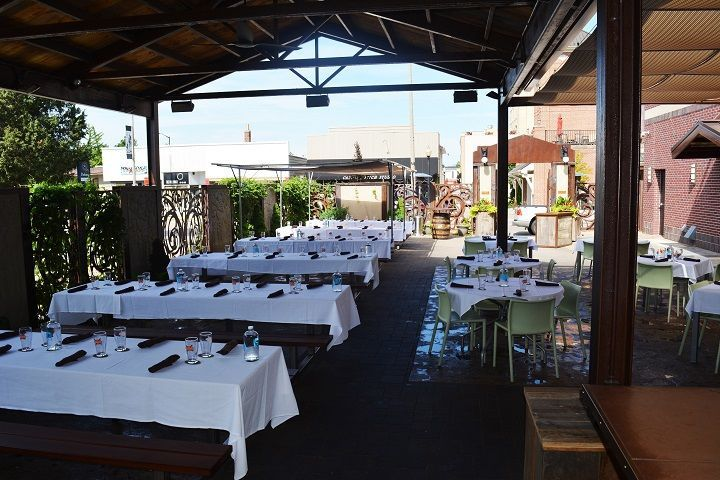 This is our Back Patio which seats 100 people comfortably.