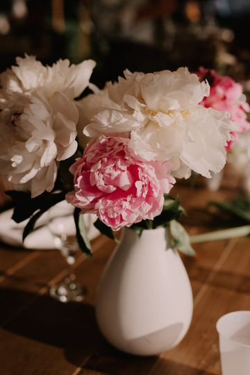 Peonies as a table setting