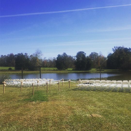 Ceremony area by the lake